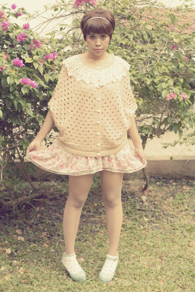 peach Davideal cardigan - light pink floral chiffon WSD dress