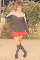 black Daiso socks - ruby red scallop skirt Silkytrend skirt - black WSD blouse