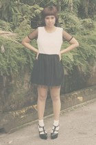 black Lush Serendipity shoes - black CLOSETmino dress - ivory lace Daiso socks