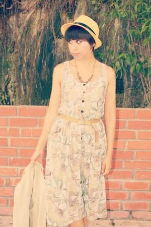 beige mesh fedora hat Japan Stall hat - periwinkle Vicnity dress