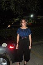 black Forever 21 pants - blue Forever21 blouse