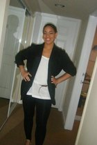 blazer - Forever 21 blouse - Oldy Navy tights - Thrift Store accessories - Old N