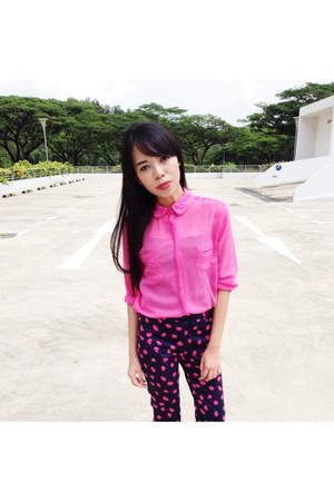 hot pink chiffon The Editors Market top - navy H&M pants