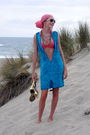Blue-vintage-dress-orange-necklace-pink-victorias-secret-swimwear-scarf-