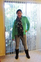 chartreuse Green sweater - brown brown boots - Express jeans - Skull scarf