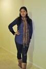 Navy-forever-21-jeans-brown-vintage-scarf-navy-luluscom-blouse