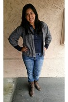style&co blouse - boutique boots - JCPenney jeans - dress barn vest
