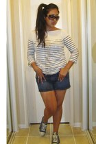 JCrew top - Converse shoes - Old Navy shorts