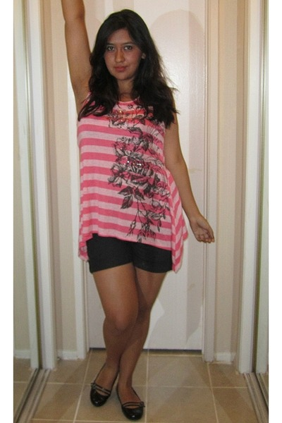 hot pink Local Boutique shirt - black Elemenio shorts - black Ross flats