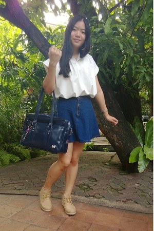 navy no brand skirt - shoes - navy unknown bag - white no brand blouse
