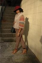 faux fur vest elle vest - chestnut bootie Forever 21 boots - burgundy H & M hat