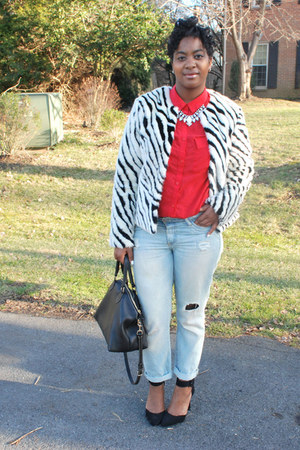H&M jacket - vintage jeans - Dooney & Bourke bag - GoJane pumps - H&M blouse
