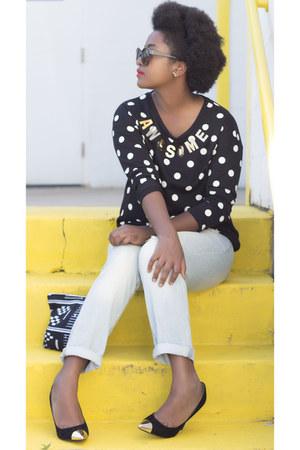 black Rue 21 sweatshirt - light blue Kmart jeans - black Kenneth Cole pumps