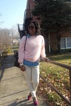 H&M sweater - Dooney & Bourke bag - Forever 21 blouse - H&M pumps - H&M pants