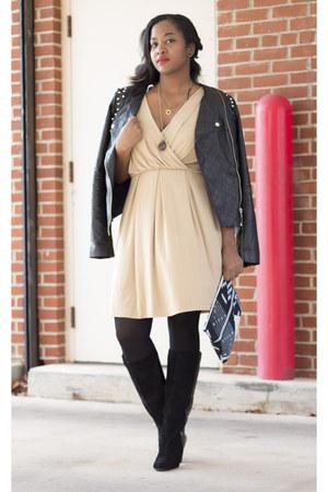 black Jessica Simpson boots - nude calvin klein dress - black Forever 21 jacket