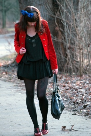red H&M jacket - red from Italy shoes - black Zara dress