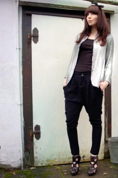 black Zara pants - black Topshop shoes - silver Topshop blazer