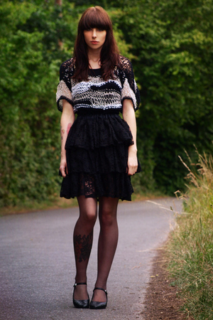 handmade skirt - handmade top - vagabond shoes - H&M tights