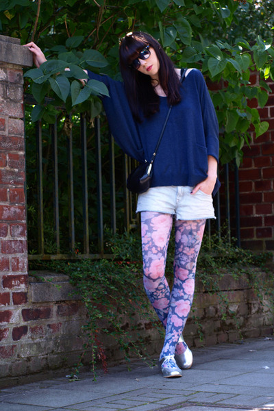silver Ebay shoes - blue Topshop jacket - blue Topshop tights
