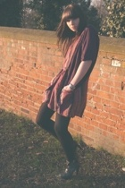 black Topshop shoes - purple Zara dress - black H&M tights