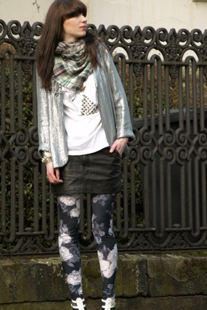 selfmade shirt - H&M skirt - Topshop leggings - Topshop blazer - H&M scarf - Ste