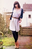 Self-Sewn dress - H&M jacket - second-hand boots