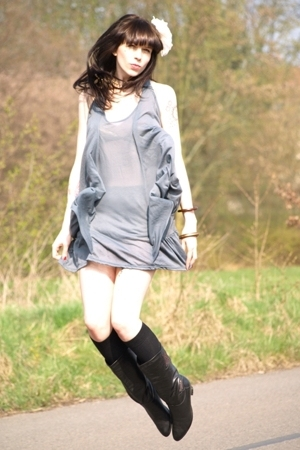 gray Topshop dress - black vintage boots - black H&M socks