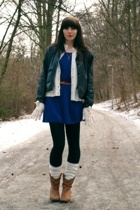 silver vintage necklace - brown unknown brand boots - blue H&M dress
