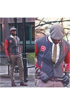 Red homme jacket - Johnston and Murphy shoes - Kangol hat - H&M shirt