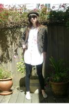 mui mui jacket - Urban Outfitters top - aa tights