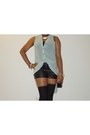 Light-blue-nobel-u-dress-black-forever-21-shorts