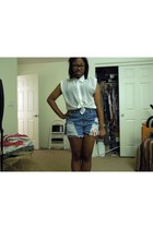 Forever 21 shorts - sheer button up unknown blouse
