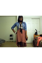coral unknown skirt - periwinkle H&M jacket - ivory corset f21 top