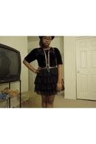 frill skirt unknown skirt - fedora Forever 21 hat - Dooney and Bourke bag