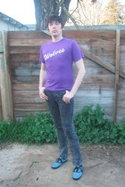 black American Apparel jeans - purple t-shirt - blue Keds shoes