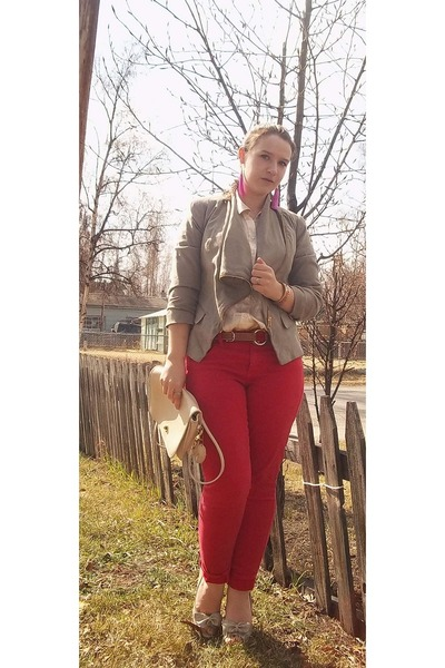 Coach thrifted bag - american eagle outfitters jeans - sears blazer