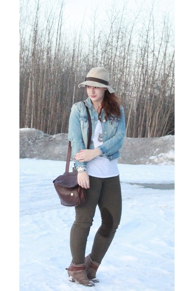 blue american eagle outfitters jacket - light brown DV by dolce vita boots