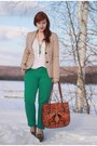 Green-sears-jeans-beige-gap-blazer-tawny-thrifted-bag