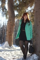 navy thrifted skirt - black kirra boots - aquamarine Old Navy coat