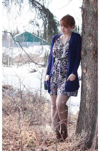 deep purple Old Navy cardigan - beige sears dress