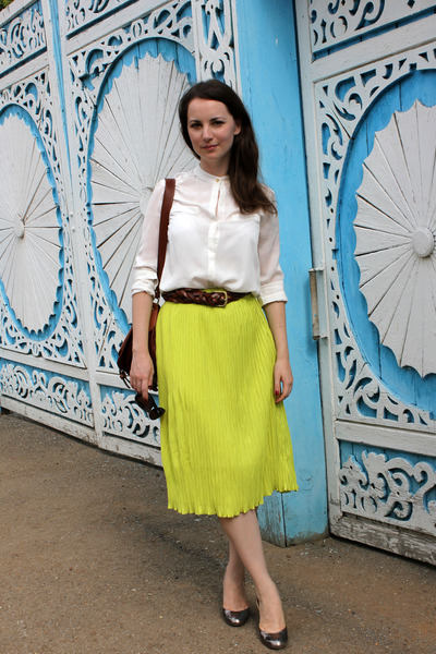 asos skirt - Guess heels - Mango blouse - Bershka belt
