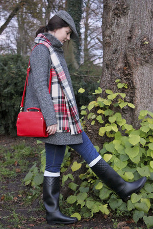 black rubber asos boots - red checked pieces scarf - red accessories bag