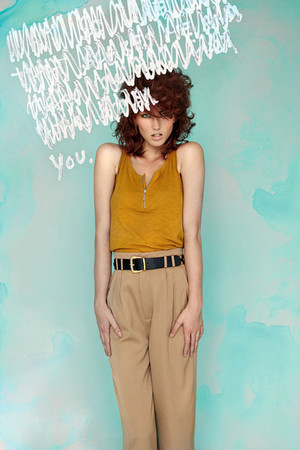black Monki belt - yellow Monki shirt - beige Monki pants