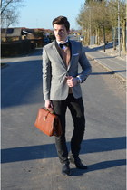 heather gray H&M blazer - gold Valentino sweater - white H&M shirt