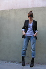 Black-gap-blazer-gray-american-apparel-t-shirt-blue-abercrombie-and-fitch-je