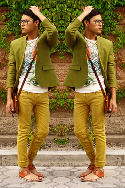 brown Tascani sandals - olive green H&M blazer