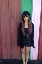 mesh f21 blazer - Popkiller sunglasses - romper f21 romper