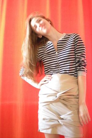 silver H&M sweater - beige Self Made skirt