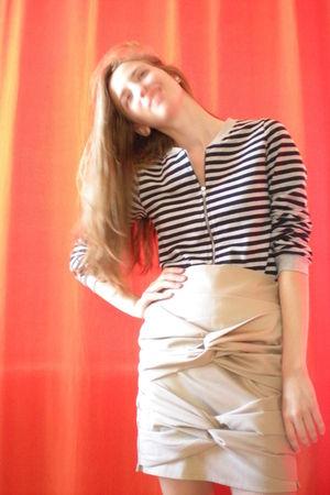 silver H&M sweater - beige Self Made skirt