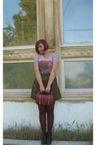 maroon vintage Members Only jacket - maroon pull&bear tights